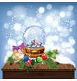 snow globe with shiny snow and winter landscape vector image vector image