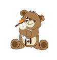 teddy bear playing with his toy a little sheep vector image