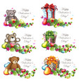 valentine teddy bears and gift boxes vector image