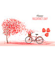 valentines day background with bicycle with red vector image vector image