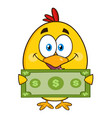 yellow chick cartoon character holding cash money vector image vector image