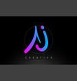 aj artistic brush letter logo handwritten vector image vector image