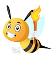 bee holding a torch on white background vector image vector image