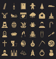 Bible icons set simple style