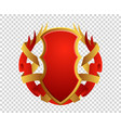 blank red and gold shield and ribbon vector image vector image