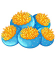 Blue coral reef with yellow flower vector image