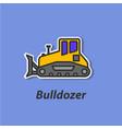 bulldozer color flat icon vector image vector image