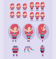 cartoon character animation girl dressed in vector image