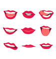 cartoon cute mouth expressions facial gestures vector image vector image
