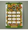 Cartoon doodles Picnic 2017 calendar vector image