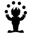 cartoon silhouette a clown juggling balls vector image vector image