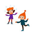 cartoon teenages in winter clothes cartoon vector image