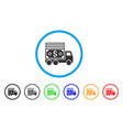 cash lorry rounded icon vector image vector image
