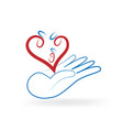 charity hand gift of love heart icon vector image vector image