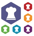Chef hat rhombus icons vector image vector image