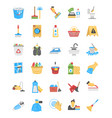 cleaning and maid flat icons vector image vector image