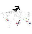 Crocodile Continents vector image vector image