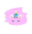 cute unicorn face and pink blob vector image