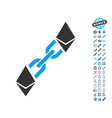 ethereum blockchain icon with bonus pictograms vector image vector image