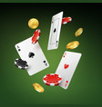 falling cards coins and chips vector image vector image
