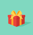 gift box with ribbon flat design style vector image