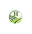 green project solution center initial h vector image vector image