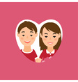 greeting card with man and woman in heart shape vector image vector image