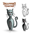 Halloween monsters scary cartoon black cat EPS10 vector image