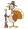 Happy Turkey With Pilgrim Hat and Musket vector image vector image