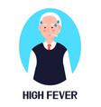 high fever senior icon flu cold vector image vector image