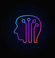 human head with digital brain colorful icon vector image vector image