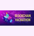 isometric blockchain hackathon concept vector image vector image