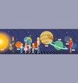 kids learning about the stars planets and the vector image vector image