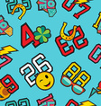 Lucky numbers stitch patch icons seamless pattern vector image vector image