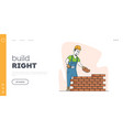 man engineer at construction site landing page vector image