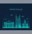 nashville skyline tennessee usa linear city vector image