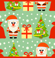 new year seamless card with santa claus and christ vector image vector image