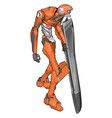 orange robot with shield on white background vector image vector image