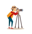 Photographer with Tripod in Flat Style vector image vector image