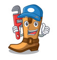 plumber leather cowboy boots shape cartoon funny vector image vector image