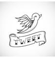 Retro Tattoo Dot Work Style Abstract Bird vector image