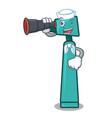 sailor with binocular otoscope mascot cartoon vector image