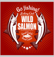 salmon fish vintage salmon fishing emblems vector image vector image