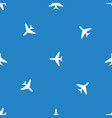 Seamless airplane pattern flying plane on blue