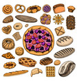 set bakery and pastry products bread and pie vector image