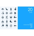 Set of BLUE HAMSTER Library cats icons vector image