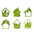 Set of green houses vector image vector image