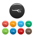 small helicopter icons set color vector image