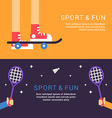 Sport and Fun Skateboard and Badminton in Flat vector image vector image
