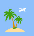 stylized icon palm trees on an island in the ocean vector image vector image